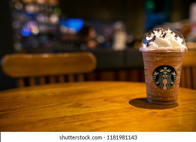 BANGKOK, THAILAND - September 18, 2018: Glass of Starbuck Coffee Frappuccino Blended Beverages. Starbucks is the world's largest coffee house with over 20,000 stores in 61 countries