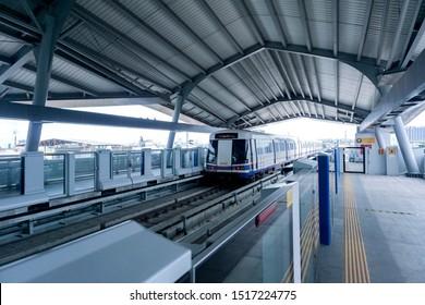 BANGKOK, THAILAND - September 18, 2019 : Metropolitan Rapid Transit (MRT) Blue Line. - The area around of Tha Phra station on Bangkok . - image