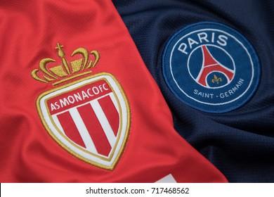 BANGKOK, THAILAND -SEPTEMBER 18: The Logo of  AS Monaco and PSG Paris Saint German on Football Jerseys on September 18 ,2017  in Bangkok Thailand.