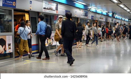 Bangkok Thailand - September 19, 2018: The passengers entering MRT subway train arrived on platform, Transportation of the Bangkok Mass Rapid Transit
