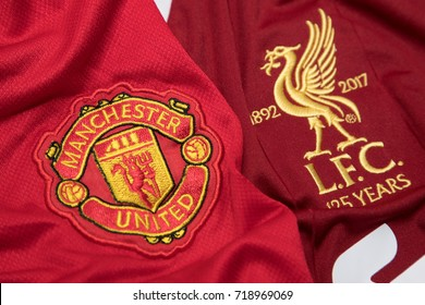 BANGKOK, THAILAND - SEPTEMBER 19: The Logo of Manchester United and Liverpool on Football Jerseys on September 19,2017 in Bangkok Thailand.