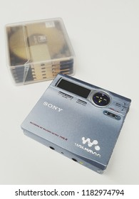 Bangkok Thailand September 19,2018 Sony MD Walkman with MD Disc Made in Japan.