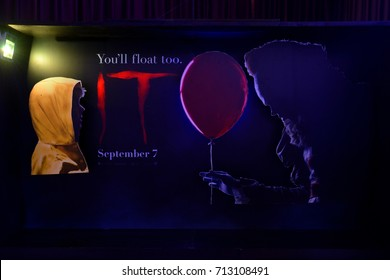 Bangkok, Thailand - September 2, 2017: Beautiful 3D Standee from an American Horror film IT at the theatre. The movie bases on Stephen King's 1986 novel.