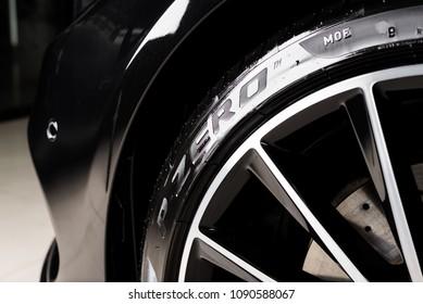 BANGKOK, THAILAND – SEPTEMBER, 20 2016: Pirelli P Zero installed in 2016 Mercedes-Benz C 250 Coupe