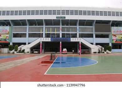 Bangkok, Thailand - September 20, 2016: Nimibutr Stadium is an indoor stadium at National Stadium used for sports including boxing, badminton, gymnastics, futsal, basketball and handball.