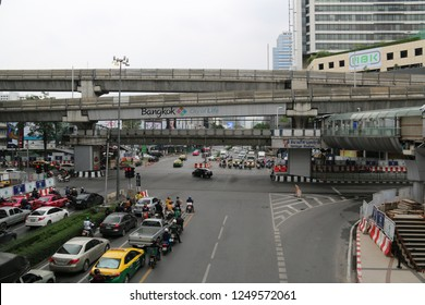 Bangkok, Thailand - September 20, 2016: Pathum Wan District, famous for its shopping centers, is a popular destination for local people and tourists.