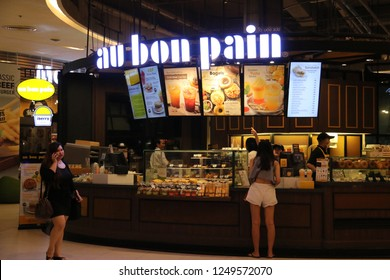 Bangkok, Thailand - September 20, 2016: Au Bon Pain, headquartered in Boston, is a fast casual restaurant serving baked goods such as bread, pastries, breakfast and beverages.
