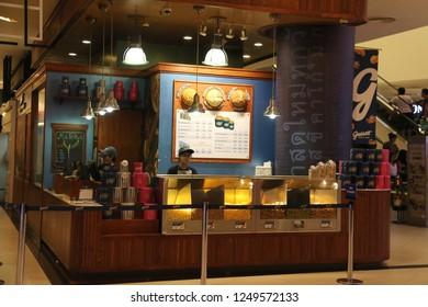 Bangkok, Thailand - September 20, 2016: Garrett Popcorn Shops offer handcrafted, artisanal popcorn in 9 countries.