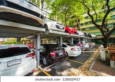 Bangkok, Thailand - September 20, 2018: Multi level Car Parking System, Automated car parking system in Bangkok, Thailand.