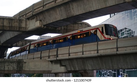 Bangkok Thailand - September 20, 2018: BTS skytrain running on the railway in downtown, The Bangkok Mass Transit System