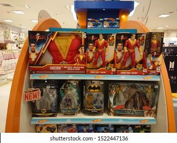 Bangkok, Thailand. September 20, 2019 - shazam, aquaman and batman toy set display in shopping mall.