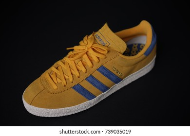 BANGKOK, THAILAND - September 20,2017: Adidas Originals Topanga yellow blue  sneakers -
