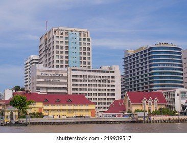 BANGKOK, THAILAND - SEPTEMBER 21, 2014: Siriraj hospital is the first hospital and medical shool in Thailand, located at the West bank of Chao Phaya river in Bangkok.