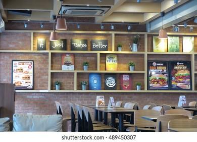 BANGKOK, THAILAND - SEPTEMBER 21, 2016 : Burger king restaurant interior in Bangkok branch, Thailand.