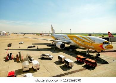 BANGKOK, THAILAND - SEPTEMBER 21, 2018: Nokscoot Boeing 777-200 parking at Don Muang International Airport.