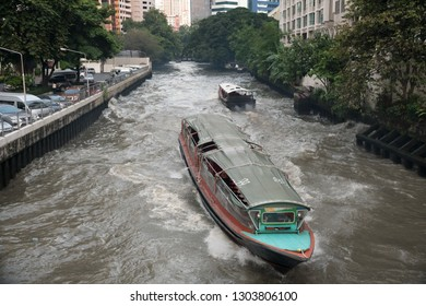 Bangkok, Thailand - September 21, 2018: Transport boats run on Saen Saep canal to Pratunam Pier, The Saen Saep boat service carries about 60,000 passengers per day in city's traffic-congested