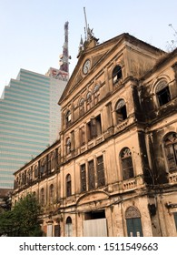 Bangkok, Thailand - September 21, 2019 : Old Customs House in palladio architecture and cat telecom building in background