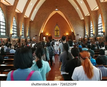 BANGKOK - THAILAND, September 22,2017 : The catholic people are joining the mass in the church at Sathorn in Bangkok Thailand.