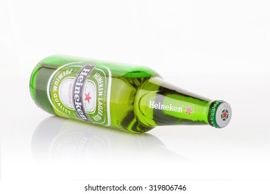 BANGKOK, THAILAND - SEPTEMBER 23, 2015: Heineken Lager Beer is the flagship product of Heineken International which owns over 125 breweries in more than 70 countries.