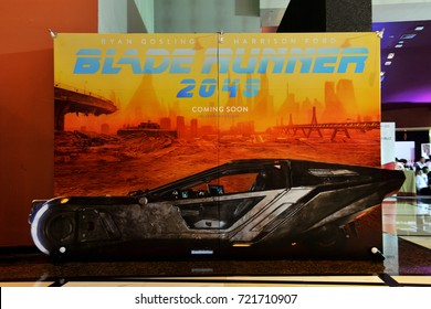 """Bangkok, Thailand - September 23, 2017: Beautiful Standee of An American neo-noir science fiction film """"Blade Runner 2049"""" displays at the theater"""