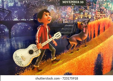 "Bangkok, Thailand - September 23, 2017: Beautiful Standee of Disney Animation ""COCO"" display at the theater"