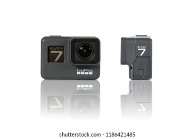 BANGKOK, THAILAND - SEPTEMBER 23, 2018 : GoPro HERO 7 Black product front and side view. The action camera with new feature fuctions hypersmooth, Live stream, TimeWarp and SuperPhoto.