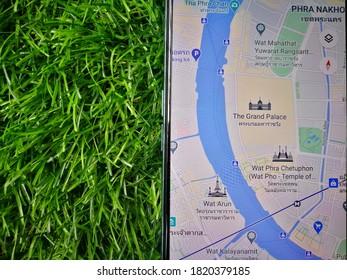 Bangkok, Thailand - September 23 2020 : Map of Bangkok citi on the smartphone.
