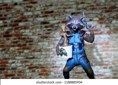 Bangkok, Thailand - September 23,2018 - The Guardians of the Galaxy's member Rocket Raccoon and Groot, action figure from famous Marvel comic.