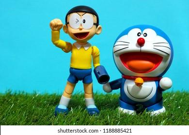 Bangkok, Thailand - September 23,2018 - The setting scenes of Doraemon, the famous Japanese manga