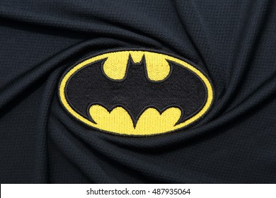 BANGKOK, THAILAND -SEPTEMBER 24, 2016: Batman Logo on Dark Fabric on September 24,2016