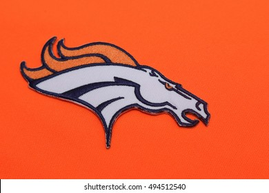 BANGKOK, THAILAND -SEPTEMBER 25, 2016 Close-Up on Denver Broncos NFL Club Logo on Fabric on September 25,2016