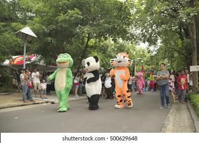 Bangkok, Thailand - September 25, 2016 : The celebration parade for Mali, Hippopotamus, 50th birthday.