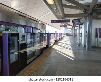 Bangkok, Thailand - September 26, 2018: People passenger at MRT Purple Line Tao Poon station. Many people in Bangkok use skytrain to save time. lifestyle of people in Bangkok, Thailand.