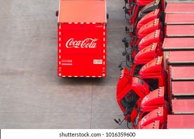 BANGKOK, THAILAND September 27, 2017 ; Row of Coca Cola truck preparing carry Coke beverage , Coca Cola is beverage popular from Thai people, Bangkok Thailand.