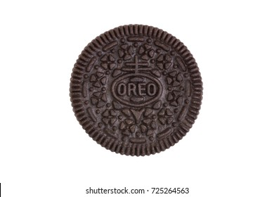 BANGKOK, Thailand - September 27, 2017: OREO cookie consisting of two chocolate wafers with a sweet creme filling in between (American famous cookie brand)
