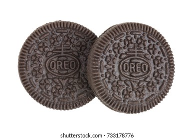 BANGKOK, Thailand - September 27, 2017: OREO cookies in two pieces consisting of two chocolate wafers with a sweet creme filling in between (American famous cookies brand)