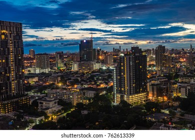 Bangkok, Thailand - September 27, 2017: Night view Bangkok skyline in Thailand, Bangkok is metropolis and favorite place for tourists in South East Asia, Panoramic High angle view of Business city