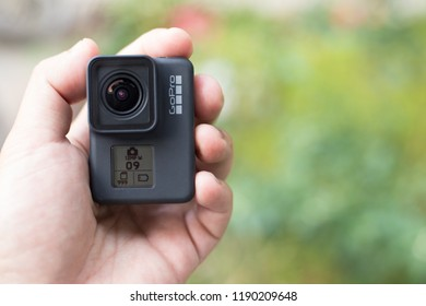 BANGKOK, THAILAND - SEPTEMBER 27, 2018 : GoPro HERO 7 Black product. The action camera with new feature fuctions hypersmooth, Live stream, TimeWarp and SuperPhoto.