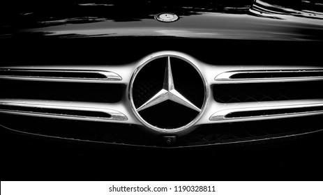 BANGKOK, THAILAND - SEPTEMBER 28, 2018 : Mercedes Benz Sign Close Up Logo, Black And White Tone, Mercedes-Benz is a Global Automobile Marque And a Division of the German Company Daimler AG.