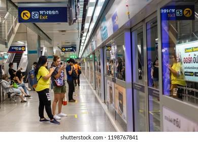 BANGKOK THAILAND - SEPTEMBER 29, 2018: Passengers waiting MRT subway train in Bangkok Thailand.