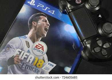 BANGKOK, THAILAND - SEPTEMBER  29: The New FIFA Football 2018  game on PS4 Console on September 29,,2017. in Bangkok Thailand.