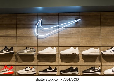 Bangkok, Thailand - September 3, 2017: NIKE store, sign and shoe. This branch is located in Central westgate, Nonthaburi, TH