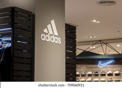 Bangkok, Thailand - September 3 ,2017: Adidas and Nike sport brands on the store. This branch is located in Central westgate, Nonthaburi, TH