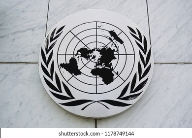 Bangkok, Thailand - September 3, 2018 : The emblem of the United Nations (UN) at The UN ESCAP ( United Nations Economic and Social Commission for Asia and the Pacific) in Bangkok,Thailand.