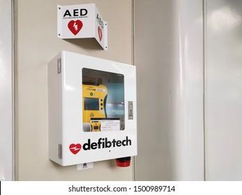Bangkok / Thailand - September 3 2019: AED cardiac defibrillator box at skytrain station
