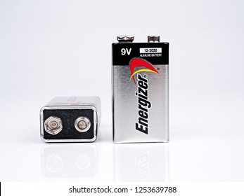 Bangkok, Thailand – September 30, 2017: Energizer is a 9 Volts Alkaline Battery for powering of toys, household and electronic equipments which sale around the world by American's company