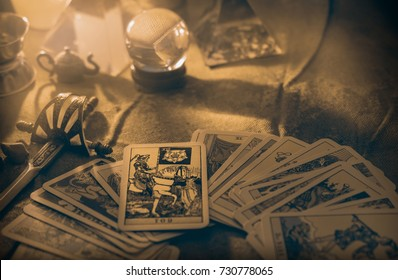 BANGKOK, THAILAND - SEPTEMBER 30, 2017: View of tarot card on the table under candlelight. The Death. Dark tone.