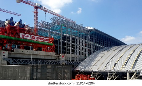 BANGKOK, THAILAND - SEPTEMBER 30, 2018: Large metallic structure under construction on the site of Bangsue Grand Station on September 30, 2018 in Bangkok, Thailand.
