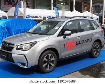 BANGKOK, THAILAND - SEPTEMBER 30, 2018:  Subaru Thailand display their Forester model at Subaru Palm Challenge 2018 on September 30, 2018 in Bangkok, Thailand.