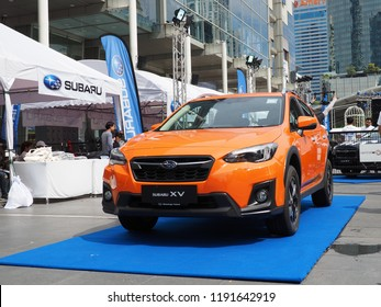 BANGKOK, THAILAND - SEPTEMBER 30, 2018: Subaru Thailand display their XV model at Subaru Palm Challenge 2018 on September 30, 2018 in Bangkok, Thailand.